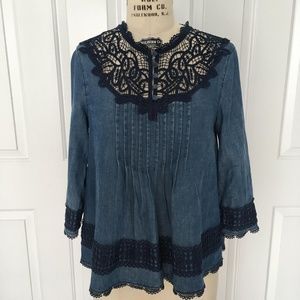 Anthropologie Laced Chambray Top